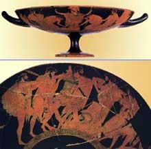 Coupe athénienne à figures rouges peinte par Douris vers 480 avant JC. Ajax et Ulysse se disputent les armes d'Achille. Ensemble et détail. Vienne Kunsthistorisches Museum. (Art grec)