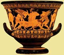 Euphronios: cratère attique à figures rouges: la mort du guerrier Sérapédon sur le champ de bataille de Troie. Vers 520 -510. New York, Metropolitan Museum of Art. (Art grec)