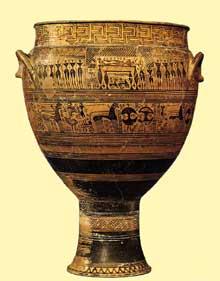 Cratère géométrique attique du cimetière du Dipylon d'Athènes. Vers 740 avant JC. Hauteur: 123cm. New York, Metropolitan Museum of Art. (Art grec)