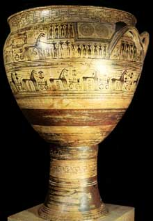 Cratère géométrique avec scène de funérailles. Cimetière du Dipylon d'Athènes. Vers 750 avant JC; hauteur, 125cm. Athènes, musée archéologique national.  (Art grec)