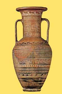 Amphore funéraire géométrique Fin du VIIIè avant JC. (Art grec)