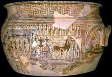 Cratère du géométrique récent. Vers 760-750 avant JC. (Art grec)