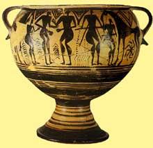 Cratère géométrique avec décors de pugilistes. VIIIè avant JC. (Art grec)