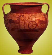 Cratère du géométrique récent, vers 760-750. Paris, musée du Louvre. (Art grec)