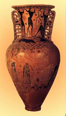 Amphore avec une scène représentant Ulysse et ses compagnons aveuglant Polyphème. Style protoattique, vers 650 avant JC. 142cm. Musée d'Eleusis. (Art grec)