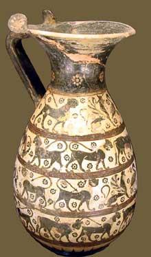 Olpè protocorinthienne avec animaux et sphinx retrouvée à Corinthe. Vers 640-630 avant JC. Paris, musée du Louvre. (Art grec)