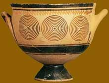 Skyphos protogéométrique du Kéramikos d'Athènes. Xè avant JC. (Art grec)