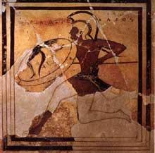 Hoplite. Plaque peinte provenant de l'Acropole. Vers 510 avant JC. Athènes, musée de l'Acropole. (Art grec)