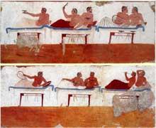 Paestum: peinture de la «tombe de l'Aurige». Art grec classique, vers 480 avant JC. (Art grec)