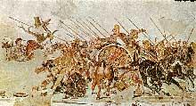 La bataille d'Issos, fresque du I° siècle avant Jésus Christ retrouvée à Pompéi, d'après un originale d'Appelle. Naples, musée national. (Art grec)