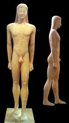 Kouros trouvé à Mélos en 1891. Vers 560 avant JC. Marbre, 214cm. Athènes, Musée National. (Art grec)