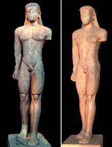 Kouros de Sounion. Ex-voto du sanctuaire de Poséidon.Vers 590-580 av. J.-C. Marbre, 305cm. Athènes, Musée Archéologique National (Art grec)