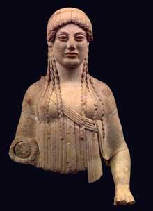 Korê de l'Acropole dite «La boudeuse» offerte par Eutydichès: le buste Vers 500-480 avant JC. Marbre, 114cm. Athènes, Musée National Archéologique. (Art grec)