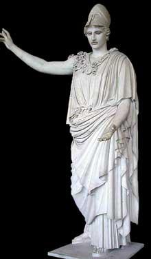 Crésilas: «Pallas Velletri». Copie romaine d'un original grec en bronze. Vers 430 avant JC. Marbre trouvé dans les ruines de la villa romaine de Velletri. 305cm. Paris, Musée du Louvre. (Art grec)