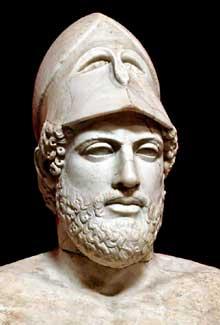 Crésilas: buste de Périclès. Copie romaine d'un original de 430 avant JC. Rome, Musée du Vatican. (Art grec)