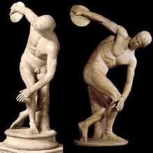 Myron, le discobole. Copie en marbre romaine de l'original grec en bronze, vers 485. Rome, musée des Termes. (Art grec)