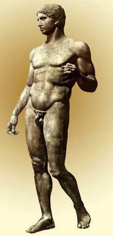 Polyclète d'Argos: le «Doryphore» (porteur de lance). Copie romaine en marbre découverte à Pompéi. Original en bronze datant de 450-440 avant JC. Marbre, 212cm. Naples, Musée archéologique. (Art grec)