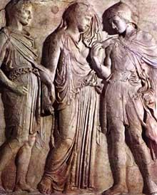 Ecole d'Alcamène de Paros: Orphée aux enfers. Stèle funéraire. Vers 410. Naples, Musée National. (Art grec)