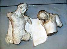 Delphes: trésor des Athéniens: métope de Thésée et d'Antiope. Face sud. 490-480 avant JC. (Art grec)
