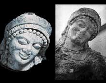 Egine, temple d'Athéna Aphaia, fronton est: un guerrier troyen agonisant. Vers 490-480. Marbre, hauteur 64 cm. Glyptothèque de Munich. (Art grec)