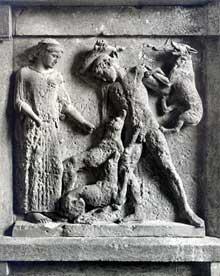 Sélinonte, temple E ou temple d'Héra. Métope représentant Artémis et Actéon. Vers 460-450 avant JC. (Art grec)