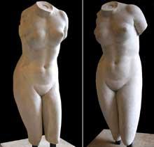 Praxitèle: torse de l'Aphrodite de Cnide. Copie romaine de l'original grec. Paris, Musée du Louvre. (Art grec)