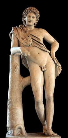 Praxitèle: Satyre au repos. Marbre, copie romaine de 130 après J.-C. environ, d'après un original grec de 350 avant JC. Provenance de la Villa Adriana ou Palatin. Rome, musée du Vatican. (Art grec)