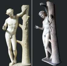 Praxitèle: Apollo Sauroctone (tueur de lézards). Copie romaines du IIè après JC. D'après l'original grec date d'environ 350 avant JC. Marbre, 149cm. Paris, muse du Louvre. (Art grec)