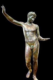 Ecole de Praxitèle: Hermès de Marathon. Vers 340-330. Bronze. Athènes, musée National. (Art grec)