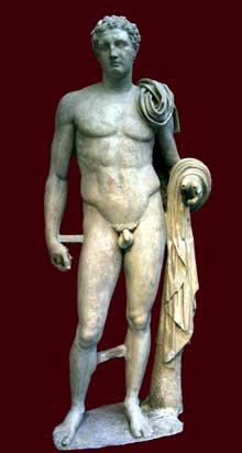 Lysippe: Hermès d'Atalante, copie romaine d'un original. Musée national archéologique d'Athènes (Art grec)