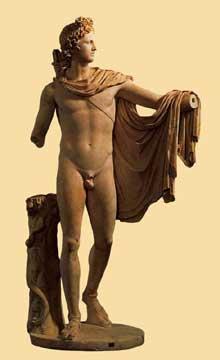 L'Apollon du Belvédère. Copie romaine d'un original grec de Léocharès, vers 330 avant JC. Marbre, 224cm. Rome, musée du Vatican. (Art grec)