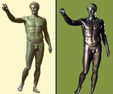 L'éphèbe d'Anticythère. Bronze. Vers 340. Athènes, musée archéologique. (Art grec)