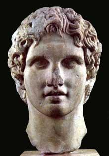 Tête d'Alexandre jeune provenant de l'Acropole d'Athènes. 340-330 avant JC. Athènes, musée de l'Acropole. (Art grec)