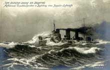 Carte postale allemande commémorant la victoire navale de Skagerrak