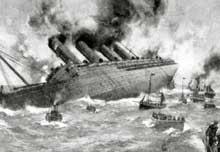 La fin du Lusitania, de la Cunard, le 7 mai 1915