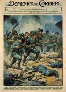 Couverture de la « Domenica del Corriere » du 4 novembre 1917 relatant la bataille de Caporetto : la propagande tente de dissimuler ce qui sera une terrible défaite pour l'Italie
