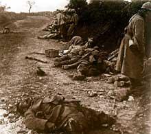 Après l'attaque. Courcelles dans l'Oise, 1918