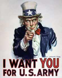 Affiche de propagande américaine : l'armée recrute pour la guerre en France.