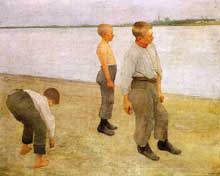 Karoly Ferenczy (1862-1917): garçons lançant des galets dans la rivière. 1890. Huile sur toile. Budapest, Galerie nationale