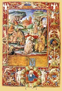 Page du Codex Cassianus. 1498. Enluminure sur parchemin. Paris, Bibliothèque Nationale. (Histoire de l'art - Quattrocento