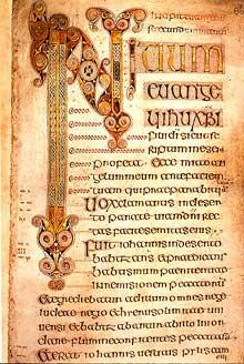 Folio du livre de Durrow, Irlande. Début de l'évangile de saint Marc. VIIè. Dublin, Trinity College, MS 57