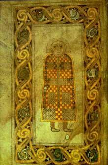 Folio du livre de Durrow représentant saint Matthieu. VIIè. Dublin, Trinity College, MS 57