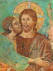 Cimabue. Le baiser de Judas (détail). Fresque. Assise, église supérieure saint François