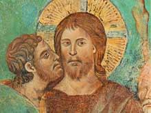 Cimabue: Le baiser de Judas (détail). Fresque, Assise, église supérieure saint François