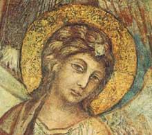 Cimabue. Madone en gloire avec l'Enfant, saint François et quatre anges. Détail: un ange. 1278-1280. Fresque, 73 x 60cm. Assise, église inférieure saint François