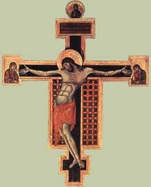 Cimabue (1240/50-1302): Crucifix (1268-1271). Tempera sur bois, 336 x 267cm, Arezzo, San Domenico