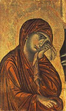 Cimabue. Crucifix (détail); 1268-1271. Tempera sur bois, 45 x 28cm. Arezzo, San Domenico