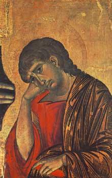 Crucifix (détail); 1268-1271. Tempera sur bois, 45 x 28 cm. Arezzo, San Domenico