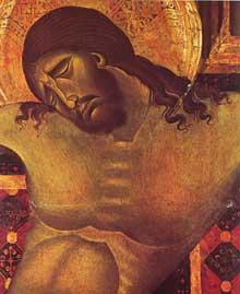 Cimabue (1240/50-1302): Crucifix (détail, 1268-1271), bois, 64,5 x 53cm; Arezzo, San Domenico
