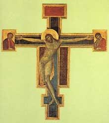 Cimabue. Crucifix, 1287-1288. Panneau de bois, 448 x 390cm. Florence, musée de l'œuvre de Santa Croce